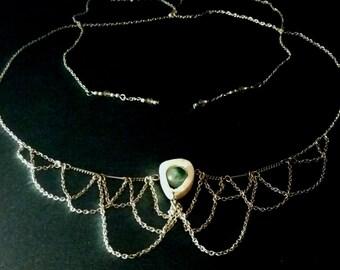Sliced Deer Bone & Green Agate Necklace/ Head Chain/ Hat Chain
