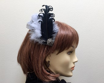 Gatsby Headpiece, Flapper Headpiece, Black and Silver Feather Fascinator, Roaring 20s Headpiece