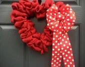 Heart Shaped Wreath, Red Heart Wreath, Red Heart Decor, Valentines Day Wreaths, Love Gift, Heart Gifts, Love Decor, Red Heart Decorations