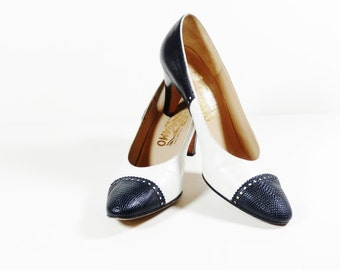 Salvatore Ferragamo Spectator Pumps - Size 6.5 AA - Made in Italy - Vintage Leather Ferragamo Pumps - Black and White