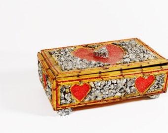 Vintage Tramp Art Folk Art Heart and Glitter Jewelry Box