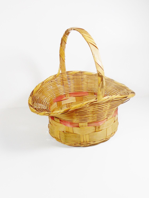 Vintage Easter Basket Large Flared Rim Easter Basket 1950s