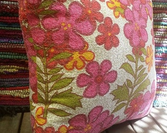 Vintage Retro Fabric Upcycled Floral Cushion