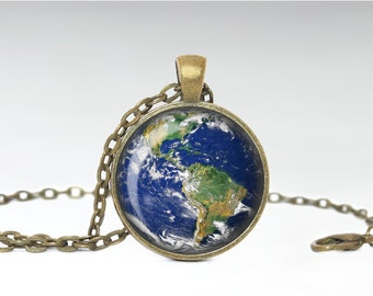 Earth Necklace, Mother Planet Jewelry, Africa Earth Pendant [B38]
