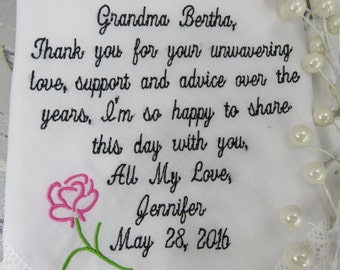 Grandmother of the Bride-Wedding Handkerchief-Non Printed/Only Embroidered Customized-Wedding Hankerchief-Grandmother of the Bride Gift