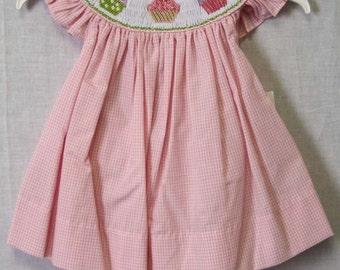 Cupcake Birthday Dress | Girls Cupcake Dress | Smocked Bishop | Toddler Birthday Dress | Smocked Birthday Dress |Baby Birthday 412387 -CC030