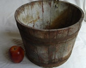 Antique Sap Bucket in old paint, iron bands, Greyish