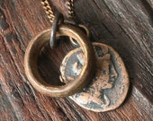 Solid Bronze Roman Coin Necklace with Antique African Brass Ring