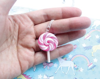 Pink White Lollypop Necklace Swirl On Silver Plated Chain