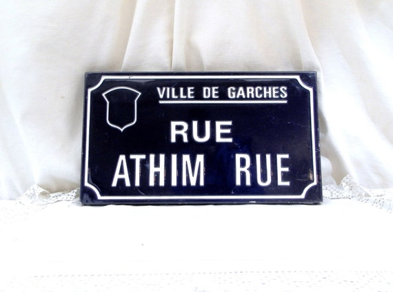 "Vintage French Embossed Blue and White Enamel Metal Street Sign ""Athim Rue"" Street in the Town of Garches near Paris, Porcelain Sign France"