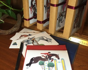 The Greeting Card: Gift Set of 8- Handmade Illustrated Hunter/Jumper Cards