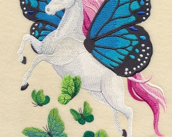 Butterflies Take Flight with Unicorn Embroidered on Made-to-Order Pillow Cover