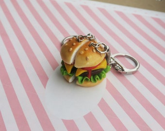 Burger Friendship Keychains or necklaces - burger bff, bff necklace, friendship necklace, friendship keychain best friends bff, food jewelry