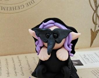 Handmade Fairy Figurine, Masked Miniature, Long Nose Venetian Mask Figurine, Miniature Halloween Deco, Fantasy Sculpture, Carnival Figurine