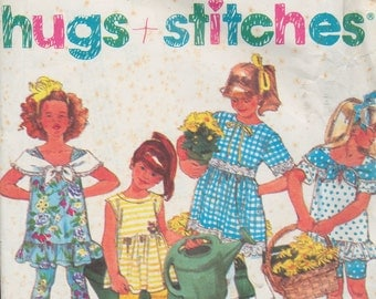 Vintage sewing pattern - Girls leggings, dresses - Stretch knits only