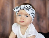 Girls Turban Wrap   Baby and Toddler Aztec triangle top knot headband   Bohemian Bow Black White