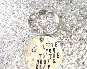I Love You to the Moon & Back hand stamped keychain
