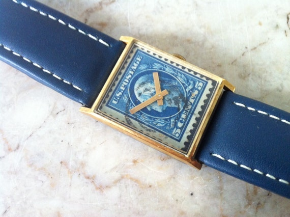 Rare U S A Stamp Watch / 17 Jewels George Washington 5 Cent Stamp / Yellow Gold Plate / Bill Blass for Hamilton Watch - Vantage Division