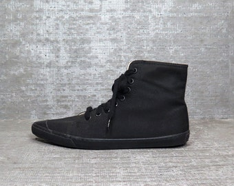 Vtg 90s Black Pointy Minimal Sneakers Canvas Hi Top Shoes 6