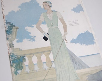 Vintage Fashion Magazine French 1930's Modes et Travaux no. 267 Sewing and Knitting
