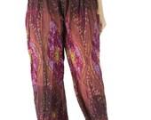 Peacock Pants Hippie Pants harem pants Boho Pants one size fits all elastic waist ankle woman DarkCrimsn