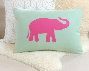 Elephant Pillow Cover - Modern Celadon Green & Pink