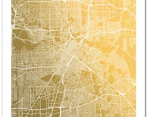 Houston Gold Foil Map, Houston Map Print, Gold Foil Print, Houston, Texas Map Wall Art, Houston Map Art, Space City Art Print, Foil Print