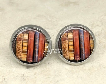 Glass dome book earrings, book earrings, bookshelf earrings, book posts, book stud earrings, book jewelry, bookshelf earrings, books, HG157E