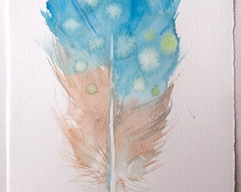Blue beige feather illustration/ Watercolor painting original. Small watercolors 7,5''x11''/ Feathers artwork/ Home decor