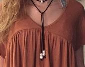 SALE Suede Wrap Necklace, Choker Wrap Necklace, Boho, Freshwater Genuine Pearl, Suede, Lariat, Wear Multiple Ways!
