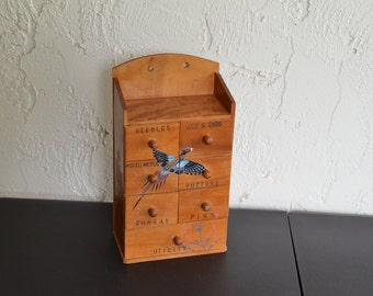 Cute Vintage Wooden Mini Sewing Cabinet w Drawers Hand Painted Pheasant