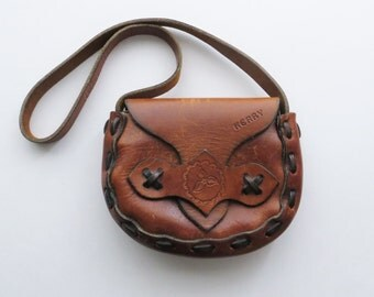 "70s Tooled Leather Saddle Bag, ""KERRY"" Embossed, Small Shoulder Purse Satchel, Hippie Boho Summer Accessories"