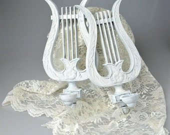 Shabby Chic Vintage Pair HODA Metal Music Lyre Harp Wall Candle Sconces Hollywood Regency Style Décor, French Provincial Music Wall Sconces