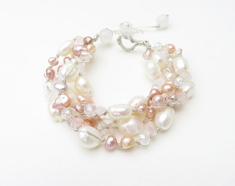 White pink peach freshwater pearl bracelet with Rose quartz stone, crystal on silk thread, pink white pearl bracelet, chunky pearl bracelet