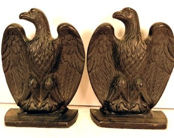 Vintage Eagle Bookends Pair Americana Book Holders Bibliotheca