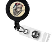 Anatomical Heart Vintage Medical, ID holder, name tag, retractable badge, badge holder, cardiac,