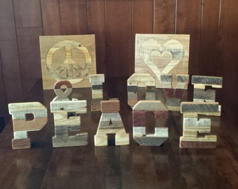 rustic home decor peace and love peace sign heart reclaimed wood pallet letters pallet words peace love inlaid wood wedding decor