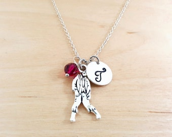 Zombie Necklace - The Walking Dead - Birthstone Necklace - Personalized Gift - Initial Necklace - Sterling Silver Jewelry - Gift