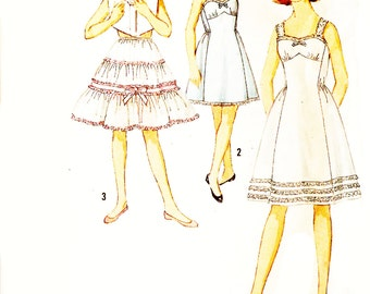 Simplicity 4530 Girl's Vintage 1960s Slip and Petticoat Sewing Pattern Sz 14