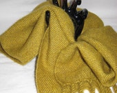 Musk Ox Qiviut & Cashmere Gold Scarf - Handwoven Scarf - Gold Scarf -  Warm Winter Scarf - Gold Mountain - Handmade - Unusual Soft Scarf