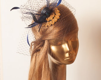 Unique Navy Blue FASCINATOR with Gold Beads and FEATHERS. Black mini Hat
