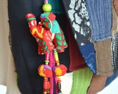 Beaded Hmong Hill Tribe Bags Keychain Long Charm Dangle with Batik Elephant Decoration Cotton Pom Poms Hang BHK29