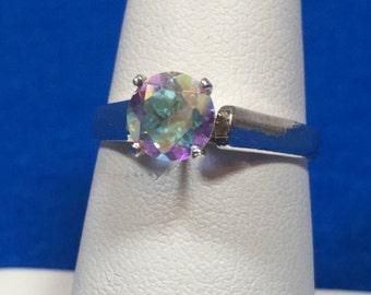 Mercury Mist Mystic Topaz Sterling Silver size 7 Ring 6 mm round gemstone