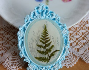 Blue big brooch with real fern - nature jewelry - polymer clay and resin