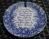Blue & White China Plate with verse - Flowers Friends Garden
