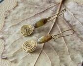 Swirl Earrings - Beaded Dangles - Green Gold Earrings Glass and Wire - Bohemian Bijoux - Hippie Earrings - RAW LUXE Jewelry - Made by Order