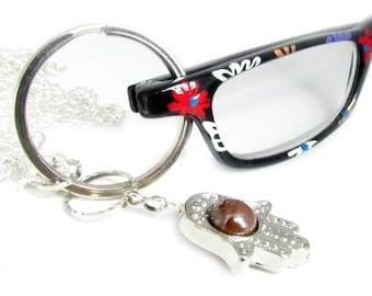 Glasses Holder, Key Lanyard, Eyeglass Chain, Eyeglass Necklace, Eyeglass Holder, Beaded Lanyard, Hamsa Lanyard, Hamsa Jewelry
