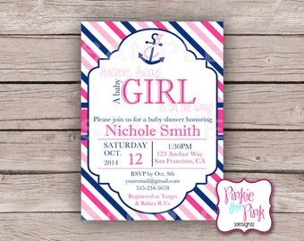 Personalized Nautical Baby Girl Shower Invitation- Navy blue, Pink, light pink Nautical Digital File Download