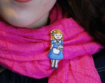 Hand embroidered brooch. Cute girl figure cross stitch Brooch. Party favor.Retro pin for teens. Blue grey.egstforgood. Mothers day.