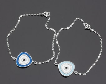 Sterling Silver Evil Eye bracelet, Greek Jewelry, Evil Eye Bracelet, Protection Bracelet, Kabbalah Bracelet, Friendship Bracelet,   0073BM
